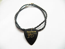 DAVID BOWIE guitar pick plectrum braided twist LEATHER NECKLACE 20""