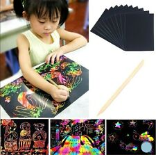 10 Sheets Colorful Scratch Art Craft Magic Drawing Painting Paper Kids Toy Gift