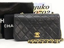 z6107 Auth CHANEL Black Lamb Skin Mini Full Flap Chain Shoulder Bag Gold HW