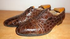 Brown Genuine Crocodile BALLY 'Crocco' Cap-Toe Oxfords Sz-9.5M Handmade In Italy
