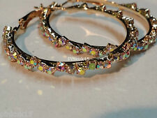 Womens Large Crystal Rhinestone Loop Hoop Round Fashion Gold Tone Earring Gift