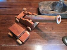 "PAIR VINTAGE Large WOODEN  CANON  18""x 5"" & Wooden CAR 7"" X 4"" Toys"