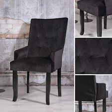 Design Esszimer Sessel Schwarz Samt Armlehnen Barock Lehnstuhl Wohnzimmer Stuhl