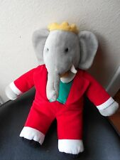 "GUND BABAR ELEPHANT PLUSH IN RED TUXEDO 15"" tall vgc cute"