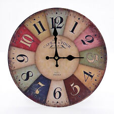 Rustic Wooden Wall Clock Vintage Colorful Round Art Home Decor Quartz Movement