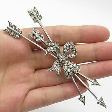 France Antique Sterling Silver C Z Large Arrows & Bow Handmade Shiny Pin Brooch