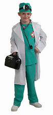 Kids Doctor Chief Surgeon Scrubs & Lab Coat Costume Child Size Small 4-6