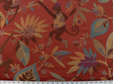 Drapery Upholstery Fabric Monkey Tropical Leaf Design Withstands 20K Dbl. Rubs