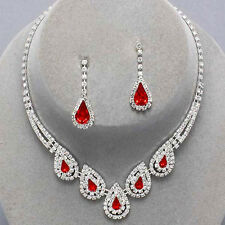 Red diamante necklace set diamante rhinestone prom bridemaid party 0186