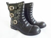 Women's  mid calf biker style boots in black or brown padded detail