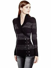 Guess Womens Shawl Collar w- Lace Up Detail Sweater Jumper Top S Black Multi NWT