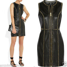 New Versace Versus Studded black leather mini dress 40 - 4