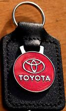 Toyota Keyring Key Ring, circles design,  - badge mounted on a leather fob
