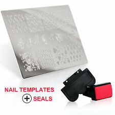 Manicure Art Gel UV Polish Small Size Nail Scraper Stemper Stamp Template Kits