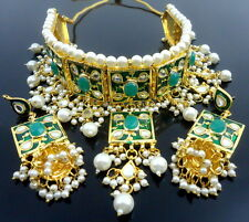 GREEN MEENA KUNDAN GOLD TONE CHOKER NECKLACE SET BOLLYWOOD BRIDAL PARTY JEWELRY