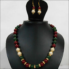 Red-Green-White Pearls-Zircon-Golden Metal Mala Necklace Set & Earrings-SS-90