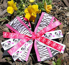 Panda Faces Zebra Stripes Pink Pinwheel Hair Bow for Girl's