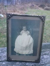 """Vintage Gold Metal Picture Frame w/Ornate Corners-Old Baby Portrait-5"""" x 7"""""""