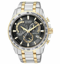 CITIZEN MEN'S ATOMIC PERPETUAL CRONOGRAPH #AT4004-52E BNIB 2 TONE BLACK FACE F/S