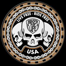 Trio sculls Live free ride free biker for Live backpatch Blouson MC BIKER kérosène