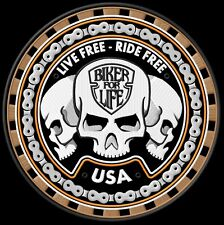 Trio sculls Live Free Ride free Biker for live back Patch sotana mc Biker queroseno
