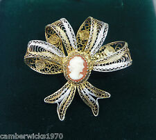 Antique Sterling Silver Gilt Filigree Cameo Bow Brooch