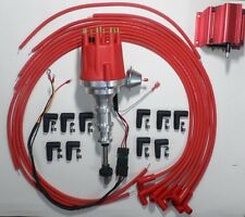 FORD Y-Block 272-292-312 RED Small HEI Distributor, Coil & Spark Plug Wires 90s