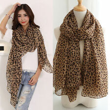 New Fashion Women Long Style Wrap Lady Shawl Leopard Chiffon Scarf Scarves Stole