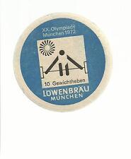 SOTTOBICCHIERE BEER COASTER MATS 210 XX OLYMPIADE MUNCHEN 1972 10 GEWICHTHEBEN