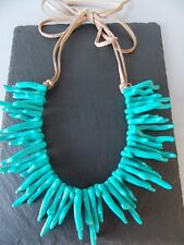 Turquoise Coral Style Statement Necklace -UK SELLER