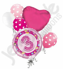 7 pc 3rd Happy Birthday Faries & Flowers Balloon Bouquet Party Decoration Pink