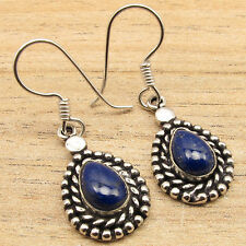 """COMBINED SHIPPING Unseen DROP LAPIS LAZULI Earrings 1 1/2 """" ! 925 Silver Plated"""