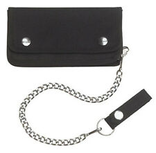 Trucker Biker Wallet with Chrome Chain - 600 Denier Polyester - BLACK