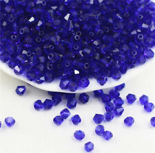 DIY Jewelry making 100pcs 4mm #5301  Blue Bicone glass crystal beads  NEW