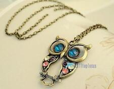 Newest Vintage Colorful Owl crystals rhinestone pendant Necklace best Gift AN17