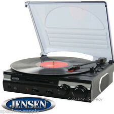 Jensen 3-Speed Stereo Turntable MP3 Encoding Belt Driven USB 33 45 78 DJ JTA-230