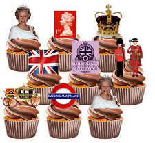 Queens 90th Birthday Party Pack 12 Edible Cup Cake Toppers The Royal Decorations