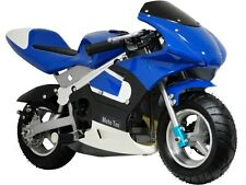 MotoTec Gas Pocket Bike Mini Air Cooled Motorcycle Ages 13+ Blue Fully Assembled