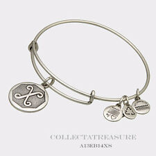 Authentic Alex and Ani Initial X Rafaelian Silver Charm Bangle