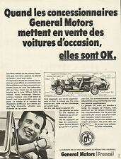 Publicité Advertising 1968  GENERAL MOTORS véhicules d'occasion garanti