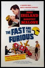 THE FAST AND THE FURIOUS ROGER CORMAN RACE CAR EXPLOITATION 1954 1-SHT ON LINEN