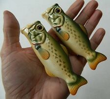 VINTAGE LIGHTER HOLDERS/COVERS, BEAUTIFUL LARGEMOUTH BASS FISH DESIGN, LOT OF 2