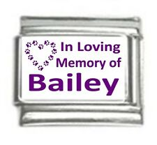 Italian Charms Custom Made In Loving Memory of Dog Name Purple