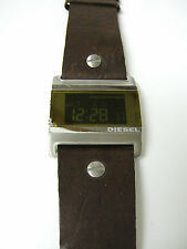 DIESEL DZ7082 Square Watch Digital Display Brown Leather Strap - Preowned/Defect