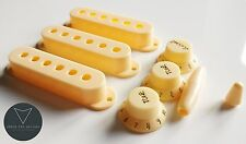 Aged Cream Strat Stratocaster Electric Guitar Knobs Pickup Covers and Tip Set