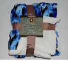 PLUSH 50x60 NORTHPOINT Throw Blanket BLUE CAMOFLAGE Sherpa Reversible