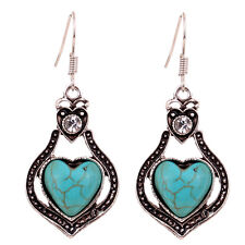 Sweety Tibetan Silver Heart Inlay Crsytal Turquoise Earrings Christmas Gift Lady