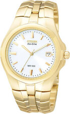 Men's Citizen Eco-Drive White Dial Gold Tone Stainless Steel Watch BM0192-59A