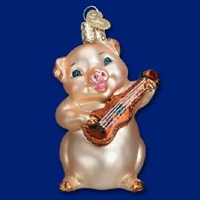 """Musical Pig"" (12435) Old World Christmas Glass Ornament - Free Gift Box!"