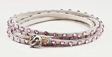 Swarovski crystal and leather wrap bracelet in white with pale pink crystals